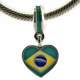 Wholesale 925 Silver Brazil - Brazil Heart Flag Mixed Enamels 2016 Summer 100% 925 Sterling Silver Bead Fit Pandora Bracelet Fashion Jewelry DIY Charm Brand