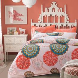 Wholesale Pink Butterfly Duvet Set Cotton - 100% Cotton Bedding sets Bohemian style butterfly bedclothes orange 4pcs bed Flat linen sheet duvet cover set pillowcase cover