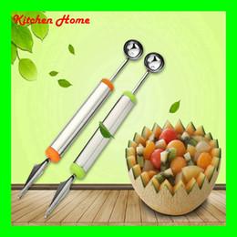 Creativo anguria frutta cucchiai anguria affettatrici per scavare frutta tagliata piatto intaglio strumento in acciaio inox frutta tagliatore palla affettatrice coltello da palle di anguria fornitori