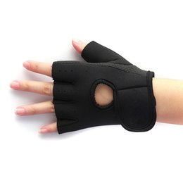 Wholesale Fingerless Padded Gloves - Wholesale-1pair Weight Lifting Leather Padded Gloves Fitness Traning Exercise Gym Sports