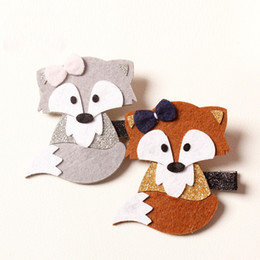 Wholesale Fiber Fox - 2016 New Sweet Kids Girls Fox Hairpin Headbands Woodland Cartoon Hair Clip Brown and Gray Color Double wear Design