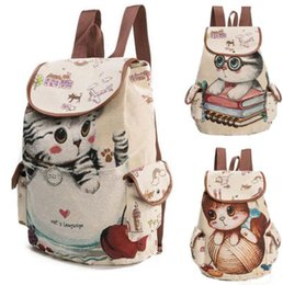 Wholesale Cute Rucksacks - Cute Cats Canvas Shoulder Bag Jacquard Embroidered Kids Teenager Girls Backpack School Bags Rucksack Bag KKA2828