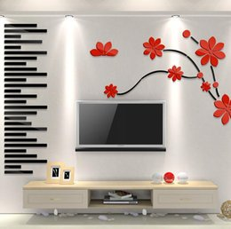 Wholesale Black Flowers Wall Stickers - Flowers wall stickers creative 3d wall stickers decorative for living room bedroom television walls