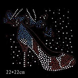 Wholesale Hot Fix Rhinestone Wholesale - 22*22cm shoes with butterfly designs iron on transfer hot fix rhinestone rhinestone iron on transfers designs