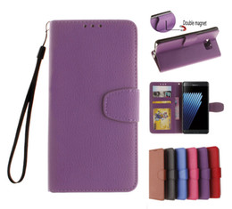 Wholesale A5 Photo Frames - Note7 Litchi Wallet Flip PU Leather Case TPU Cover With Photo Frame Card Slots Stand For Samsung J1 J3 J5 J7 2016 J120 A3 A5 A7 A710 Note 7