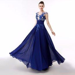 Wholesale Elegant Dressess - floor length beading jewel neckline evening dressess 2016 appliques chiffon evening gowns sequins backless long dresses elegant