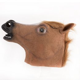 Wholesale Realistic Rubber Masks - Newcomdigi #Novelty Creepy Horse Halloween Head latex Rubber Costume Theater Prop Party Mask knock off Surprisingly Realistic