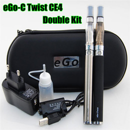 Wholesale Black Ego Wall Charger - Double Electronic Cigarette EGO Twist Kit 650 900 1100 1300mah e cig Twist battery with CE4 Atomizer Larger zipper Case Wall Charger ecig