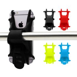 Wholesale Cell Phone Clamp - Bike Cell Phone Mount Motorcycle Handlebar Cellphone Holder Bicycle Silicone Cradle Clamp for iPhone 7 Samsung Galaxy S7 Universal Smartphon