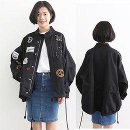 Wholesale Korean Frocks - Wholesale- 2016 Spring Autumn Korean Casual Harajuku New Authentic Women's Loose Patch Rivet Embroidery Bomber Jacket Fashion Frock Coat