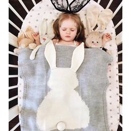 Wholesale Quilt Crochet - Baby Rabbit Quilt Bunny Ears Organic Muslin Crochet Swaddle Wrap Kid Blanket For Beach Home Sleeping bag