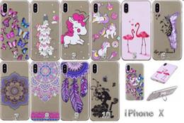 Wholesale Tpu Case Butterfly - Stand Cartoon Flamingo Unicorn Soft TPU Case For Iphone X 7 8 I8 Plus 6 6S 5 SE 5S Butterfly Flower Mandala Transparent Phone Cover 100pcs