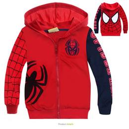 Blousons enfants spiderman en Ligne-Hoodies pour enfants Sweat Printemps Automne Vêtements de plein air Enfants Manches longues Spiderman Zipper Jacket Manteaux Taille 90-140