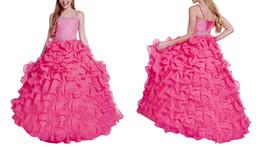 Wholesale Girl Sugar Pageant Dress - Sugar Kid Pageant Dress Cascading Ruffles Princess Girls Dresses With Straps Beadings Glitz Organza Little Children Ball Gowns