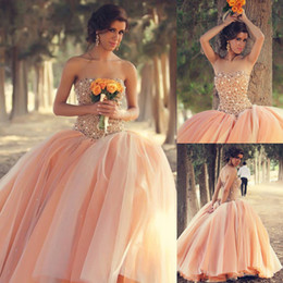 Wholesale Peach Petals - New Sexy Peach Quinceanera Dresses Strapless Organza Ball Gown Floral Colorful Winter 2017 Girls Dresses Beaded Crystals Tulle