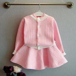 Wholesale Jacket Tutu Skirt Set - 2016 Autumn Winter Girl Outfits Set Crochet Swallow Gird Jacket + TUTU Skirt 2pcs Outfit Children Leisure Sport Set Pink Black K7820