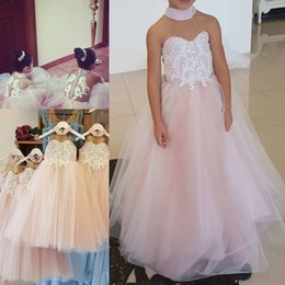 Wholesale Hunter Goods - 2018 Good Quality Baby Pink Lovely Flower Girl Dresses Halter Appliqued Sleeveless Tulle Button Back A Line Kid Gowns For Wedding