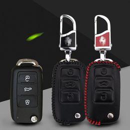 2019 volkswagen key fobs Auto-Styling Premium Leder Fernschlüsselanhänger Fob Case Cover fit für VOLKSWAGEN Lavida / Jetta / Polo / Bora rabatt volkswagen key fobs