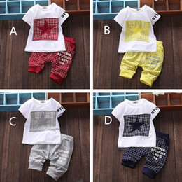 Wholesale Short Sleeve Sport Set Baby - Summer 4 style baby boy kid clothing sets cotton t-shirt+pants suit Star Printed Clothes short sleeves sport suits Sweetgirl B001