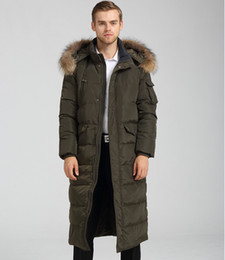 Wholesale Men S Large Jackets - Mens Long Coat Winter Jacket Duck Down Parkas Raccoon Fur CollarThickening Warm Overcoat Outdoor Outwear Brand Clothing Large Size HOT