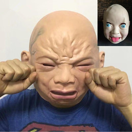 Wholesale Holloween Masks - Crying smiled baby face latex mask Cosplay party props Holloween costumes party Scary headgear props