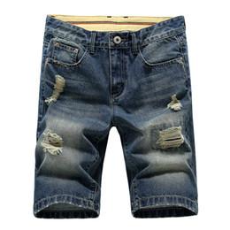 Wholesale Hot Jeans Men S Shorts - Wholesale-Top Quality Mens Jeans Denim Shorts Casual High Quality Fashion Washed Hole Shorts Men Plus Size Fit Jeans Men Hot Sale