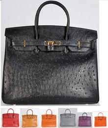 Wholesale Jelly Glitter Purses - 1:1 Togo Epsom 9 Colors Top Quality Light Brown Ostrich Leather Bag Real Leather 35cm Handbag Tote Bag Purse Rivet Lock 35cm