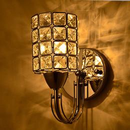 Колонна цилиндрические серебряный золотой коридор светодиодные лестницы коридор гостиная спальня Кристалл прикроватные настенный светильник бра от