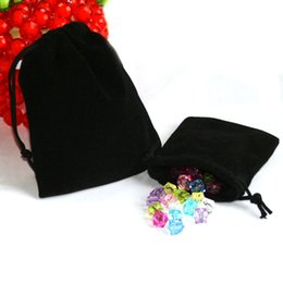 Wholesale Black Jewellery Display - 50pcs Velvet Drawstring Jewellery Gift Bag Pouch (9x7cm) Wedding Favour Black Color Jewelry Packaging & Display