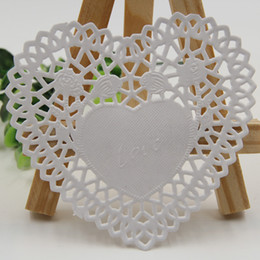 "Wholesale Paper Doilies Heart - Wholesale-Creative Craft 4"" Inch Heart-shaped White Paper Lace Doilies Cake Placemat Party Wedding Gift Decoration 100pcs pack"