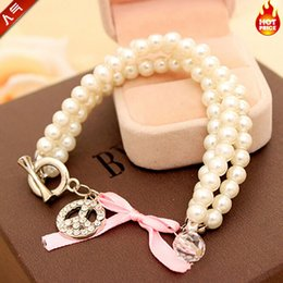 Wholesale Pearl Bracelet Peace Sign - Anti War Peace Sign Bead Bracelet New Classic Three-string Pearl Bracelet Fashion Female Ball Teething Jewelry Bead Bracelet for Women