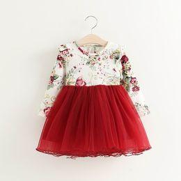 Ropa esponjosa online-Primavera Otoño Vestido de Niña Nuevo Vestido de Manga Flare Floral Vestido Fluffy Ropa de Niños 504779