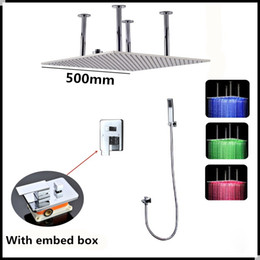 Wholesale Hydro Steel - Bathroom use Led shower head 20inch led ceiling shower head with message body jets hydro power led shower set