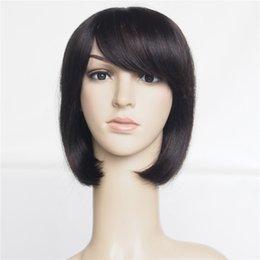 Wholesale 12inch Human Hair Wigs - 100% Human Straight Hair Wigs 12inch Cheap Short With Front Bangs Machine Made Non Lace Bob Cut Wigs