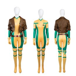 Wholesale Sexy Costume Jacket - NEW Arrival Costumes Super Hero X-Men Rogue Cosplay Costume Jacket+Jumpsuit Any Size High Quality Skintight Sexy Suit