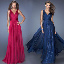 Wholesale Ladies Chiffon Cocktail Dresses - Chiffon Party Long Dress Women Sexy Sleeveless Deep V-neck Backless Solid Color Splicing Fashion Dress Lady All-match Cocktail Party Dress