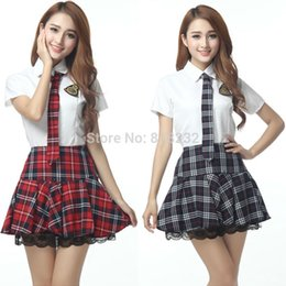 games sexy anime Coupons - Wholesale-Girl's Sexy High School Sailor Suit Uniform Tops+Skirt Daily Cosplay Costume S-XXL