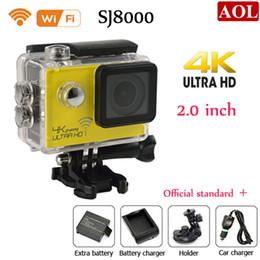 Wholesale Video Camera Brackets - SJ8000 WiFi Sports Camera 1080P 60fps 16MP Real HD 4K 24FPS Waterproof Action Camera + Car bracket Battery Charger 2.0LCD Helmet Video DVR