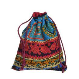 sacchetto di juta nero Sconti La borsa etnica della borsa del gioiello del sacchetto della borsa del regalo della caramella del cotone della borsa del cordone 25PC colore invia a caso