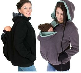 Wholesale Down Jackets Women Hoodies - 2017 Baby Carrying Jacket Baby Carrier Hoodie Kangaroo Coat&Jacket for Mom and Baby Wearing Hoodie Maternity Sweater