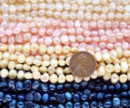 Wholesale White Pearl Strand Freshwater - 6 colors 5-6mm Baroque Loose Pearl Strand Loose Beads Cultured Freshwater Pearls Baroque Pearls Genuine Pearls Nugget pearls Jewelry Making