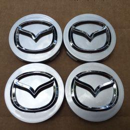 Wholesale Mazda Wheel Center Hub Cap - NEW 4 PCS SET MAZDA GRAY CENTER WHEEL CAPS CHROME EMBLEM 56MM HUB CAP LOGO Free shipping yy298