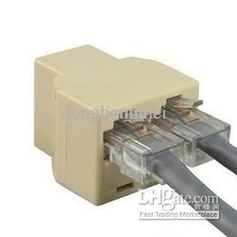 Wholesale Plug Network Cable - 2017 RJ45 8P8C Y-splitter Female Network Coupler Adapter 1 to 2 Spliter connector high quality O#07D