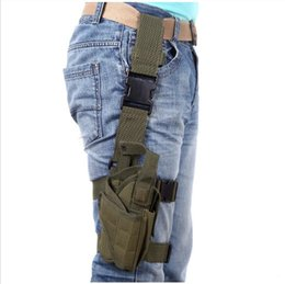 Wholesale Thigh Pistol Holsters - Outdoor Hunting Tactical Puttee Thigh Leg Pistol Gun Holster Pouch Bag Wrap-around Khaki Green Black H10155