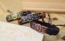 Wholesale Wholesale Peace Jewelry - World Peace Sign Bracelets Men Jewelry Genuine Leather Bracelets for Women Gifts Men Bracelet 100% New men bracelets