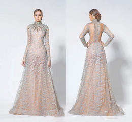 Wholesale Dresses Cap Sleeve Heavy Beaded - Shinning Heavy Beading Long Sleeve Evening Gowns Hign Neck Crystals Beaded Sheer Back Prom Dresses Champagne Luxury Formal Party Dresses