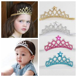 Wholesale Girls Crowns Tiaras - Baby Girls Headbands Sparkle Crowns Kids Grace crown Hair Accessories Tiaras Headbands With Star Rhinestone Hair Accessories 4 Colors