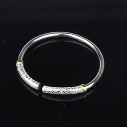 "Wholesale Couples Gift - 2 Pieces  Set Couple Bracelet 999 Purity Silver Bangle with Gold Plated "" the only love "" Silver Bangle Bracelets Best Gift for Lovers"