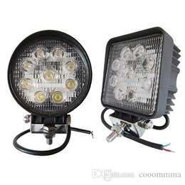 "Wholesale Round Led Lights For Trucks - 4"" Inch LED Work Light Offroad Lamp 27W 12V 24V Round Square Waterproof Flood Spot Beam LED Light Bar For Jeep SUV Truck"