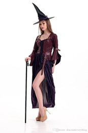 Wholesale Fancy Embroidered Dresses - Sexy Witch Costume Deluxe Adult Womens Magic Moment Costume Adult Witch Halloween Fancy Dress